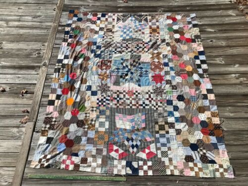 AAFA Antique Quilt TOP SAMPLER Postage Stamp Homespun Blue White Red and Brown