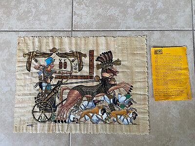 Egyptian King TUTANKHAMUN Egypt Scene PAPYRUS Hand Painted Signed 21x16