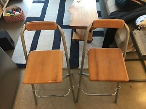 Set of two (2) folding bar stool chairs