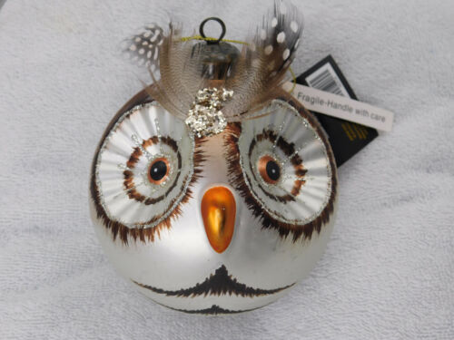 Owl Head Bulb Blown Glass Christmas Tree Ornament Robert Stanley New