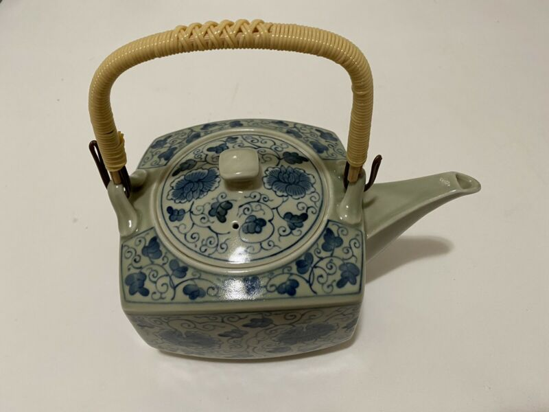 Vintage Japanese Porcelain Teapot Blue and White Signed