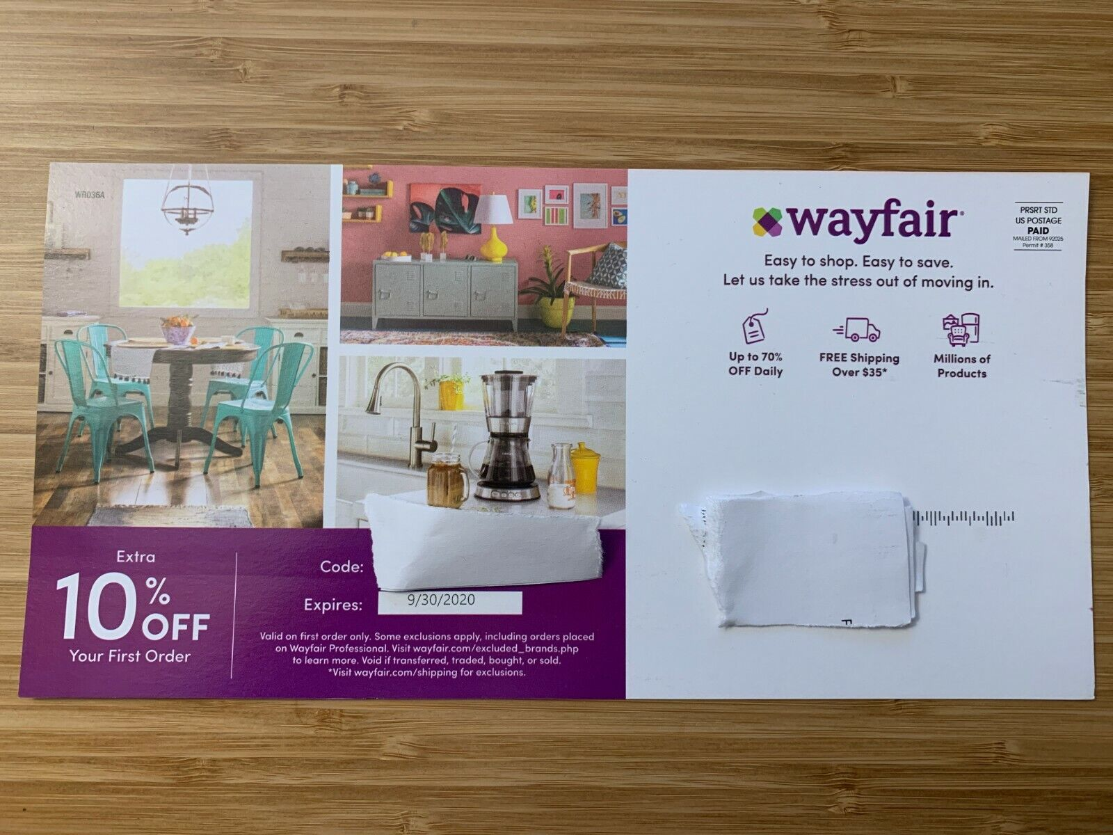 Wayfair.com 10 Off Coupon Exp 09/30/2020 FIRST ORDER FAST DELIVERY - $5.00