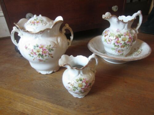 Antique Chamber Set with Dogwood blossoms