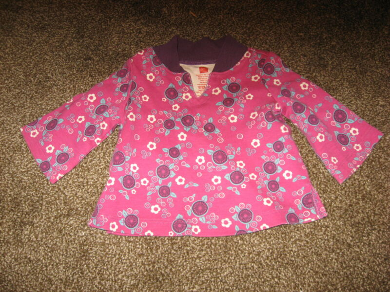 Tea Collection Purple and Turquoise Floral Long Sleeve Cotton Top GUC 3-6 months