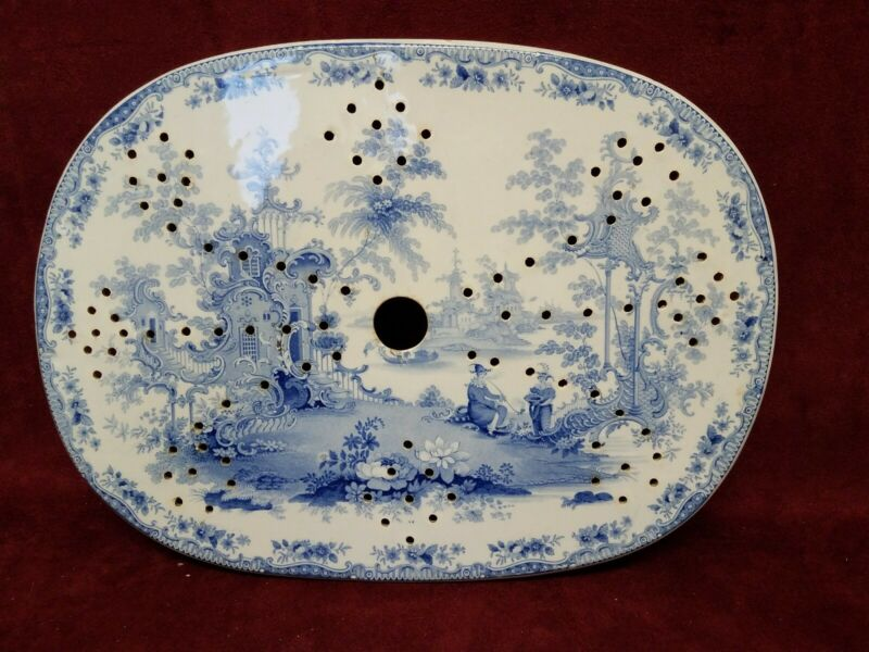 "Antique Pearlware 13""x9.transfer  Platter Drain"