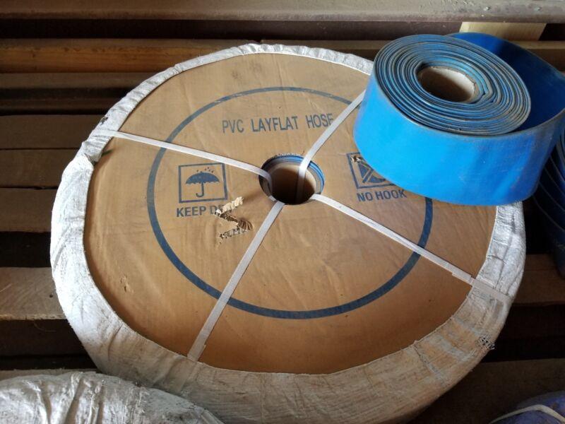 "BLUE PVC LAY FLAT DISCHARGE HOSE 3"" ID X 300"