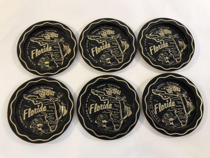 """Vintage Florida Souvenir Round Tin Coasters Set Gold & Black 3.5"""" (HD9)"""