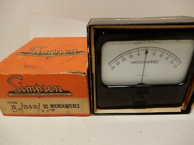 Simpson 25-0-25 Dc Microamperes Nos Panel Meter Model 29