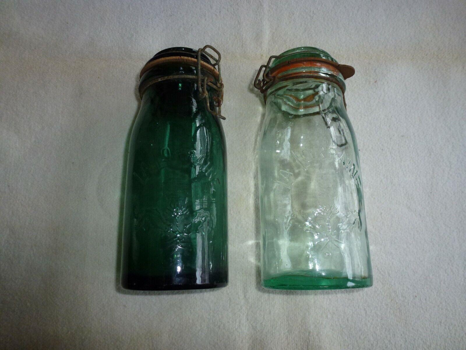 Deux anciens bocaux la lorraine decor chardon 1 litre