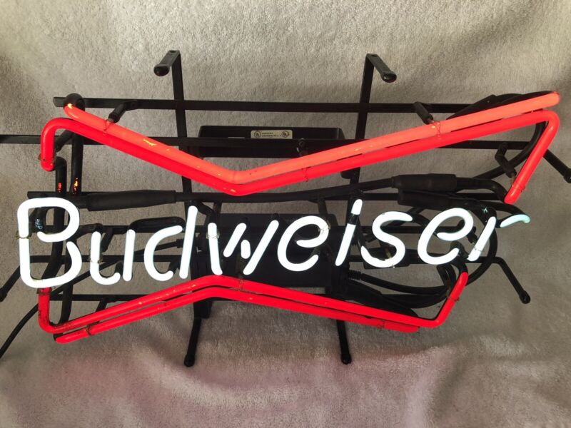 Vintage 1998 BUDWEISER Beer Double Bow Tie Neon Bar Advertising Sign Light