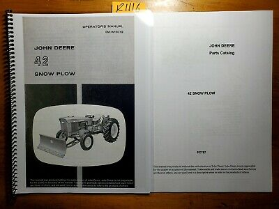 John Deere 42 Snow Plow Blade For 1010 1020 2010 2020 Tractor Oper Manual Parts