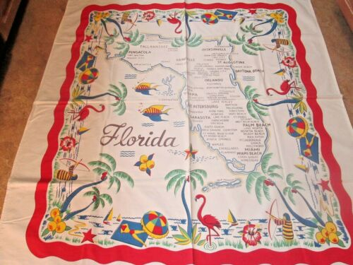 Vtg Florida Detailed Map Tablecloth Flamingoes Bathing Archery Palm Trees & More