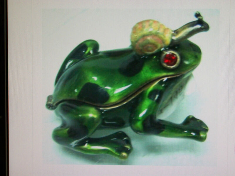 NEW JEWELED FROG W/ SNAIL HINGED PEWTER  PAINTED BOX