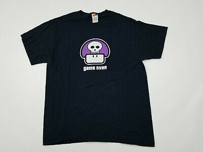 - Mario Nintendo T Shirt Men's Large L 00s 2003 Poison Mushroom Game Over Purple