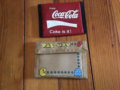 2 Vintage 1980s Velcro Nylon Wallets—Pac-Man and Coca-Cola/ Coke