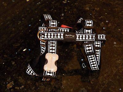Red Dingo Australia Large Dog Harness Reflective Black Lots of Bones Pattern