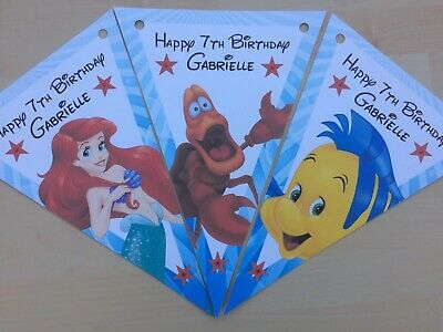 Disney Princess Theme Party Decorations (Handmade Personalised Little Mermaid Theme bunting / party decoration /)