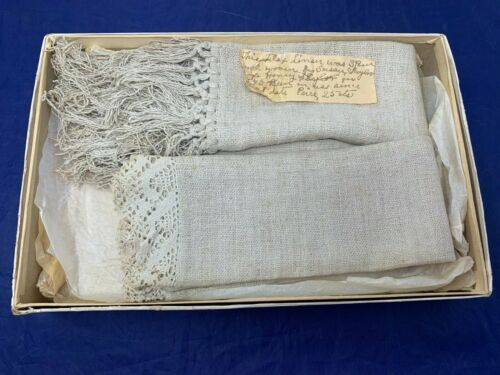 Vintage Linen Hand Loomed & Tied w/ Note 1800s