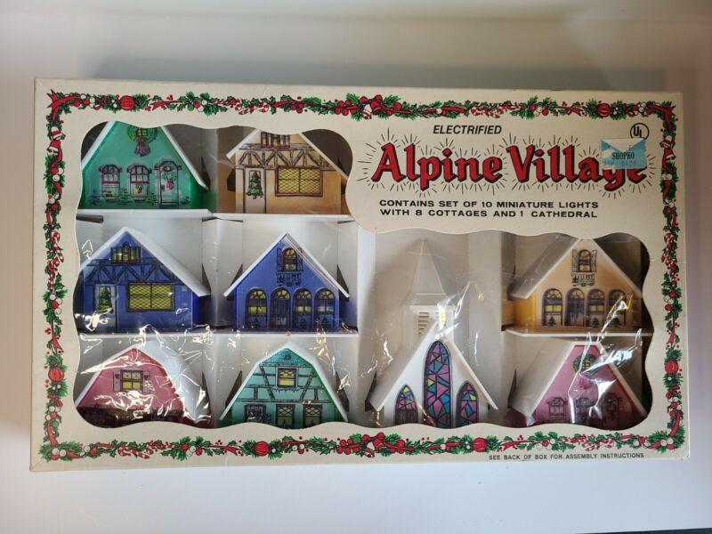 Vtg ALPINE VILLAGE Miniature 8 Cottages 1 Cathedral Christmas Box Set no Lights