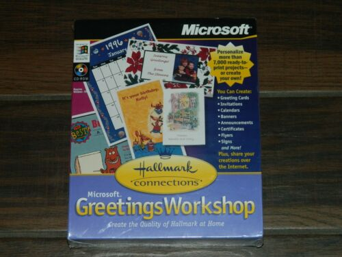 MICROSOFT GREETINGS WORKSHOP:  HALLMARK CONNECTIONS- CD ROM - FACTORY SEALED!