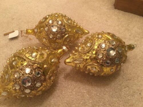 KATHERINES ORNAMENT* LARGE GOLD JEWELED TEARDROPS* SET OF 3* CRYSTAL* KEEPSAKE