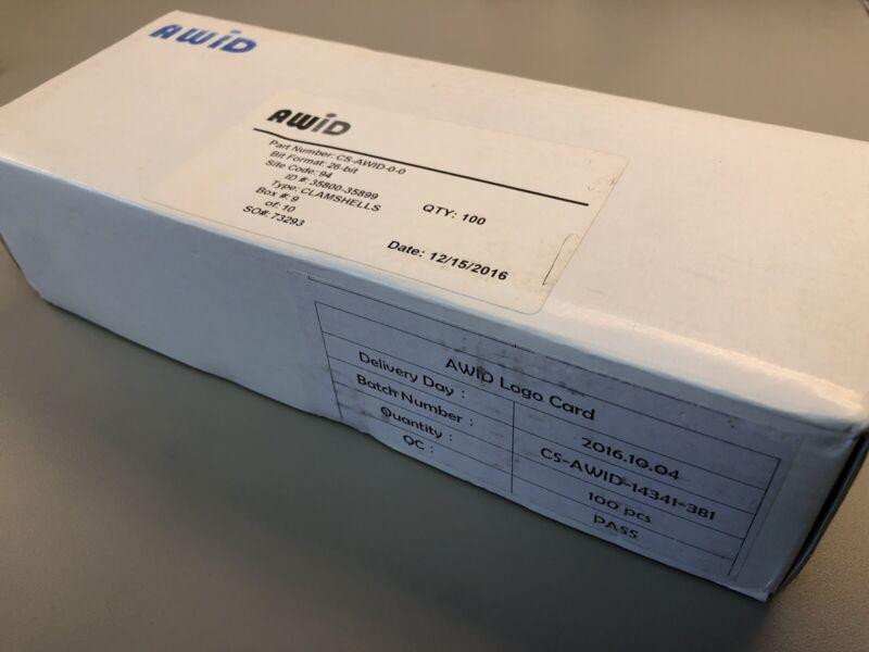 AWID 100 PACK CLAMSHELL PROXIMITY CARDS CS-AWID-0-0