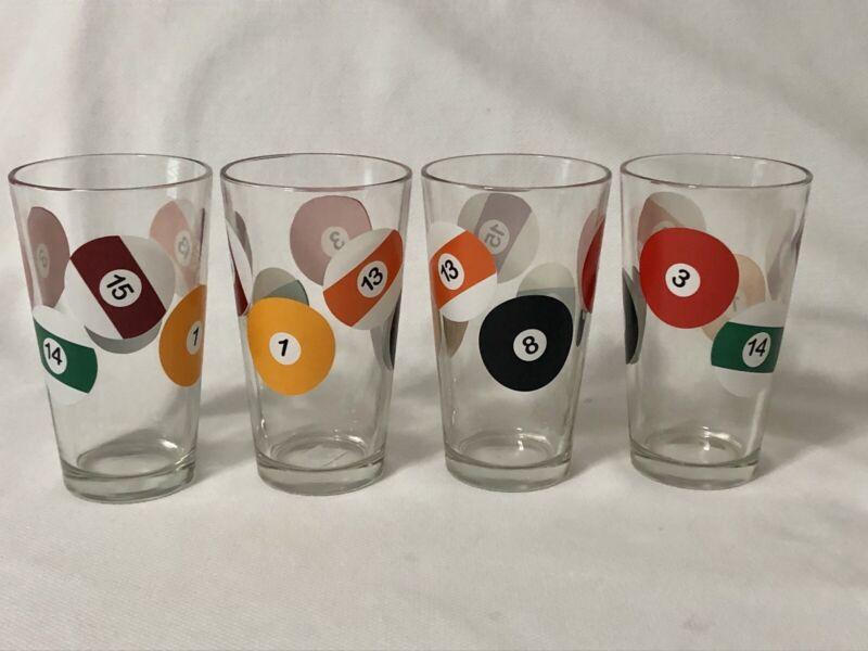 Vintage Pool Ball Billiards 4 Pub Drinking Glasses 12 oz. Mid Century Hi-Ball
