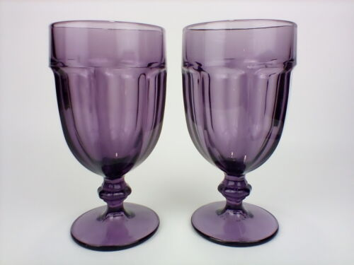 "Libbey Duratuff Amethyst Purple Large 7"" Water Goblets Set of 2 Gibraltar Style"