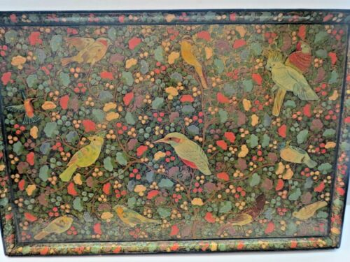 RARE Large Antique Kashmir India Hand Painted Lacquer Folding Tray Table SUPERB