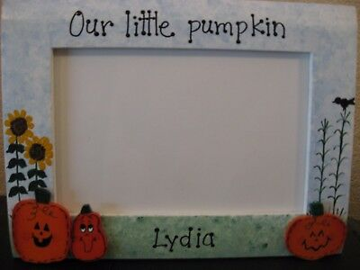 Halloween Frame Our Little Pumpkin personalized custom fall photo picture frame (Personalized Halloween Frames)