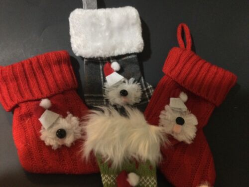 """4 hand crafted Old English sheepdog """"  stocking ornaments varied styles"""