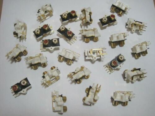 25 Qty PCB Mounting Socket Gold Plated RCA Female Jack Temple Star RL-1416-2G