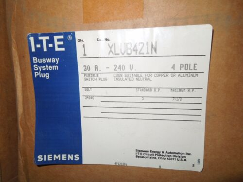 Siemens Xlvb421n 30a 3ph 4w 240v Ite Xj-l Fusible Switch New
