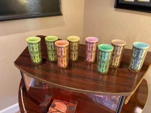 8 mid century modern thermo pastel colors drinking glasses