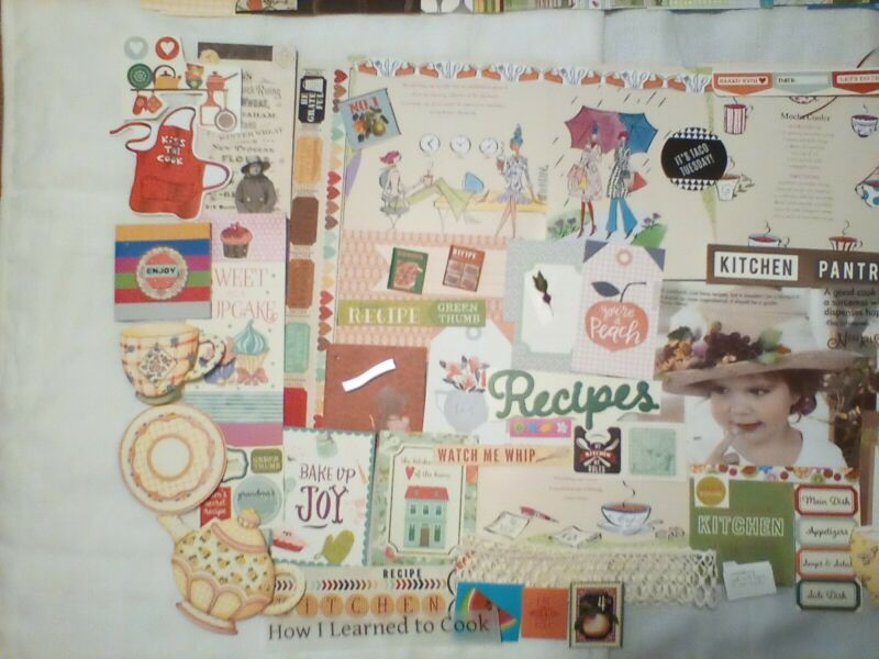 junk journal supplies, 100 cooking theme papers, tags, book pages, trim, etc.