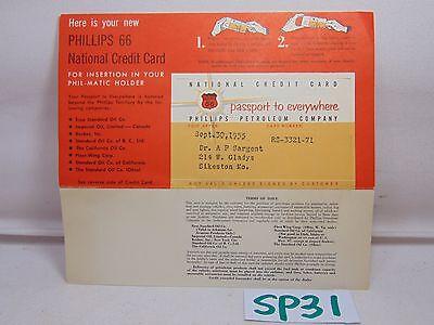 VINTAGE 1955 PHILLIPS 66 GASOLINE GAS STATIONS NATIONAL CREDIT CARD UNUSED RARE