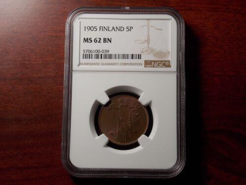 1905 Finland 5 Pennia coin NGC MS-62 BN