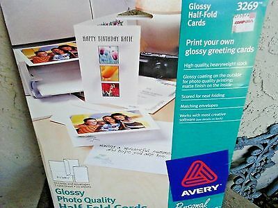 Avery Half Fold Cards For Ink Jet Printer 3269 Opened 9 Envelopes 8 Cards