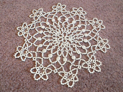 Beautiful Handmade Tatted Doily Table Linen Off White 7