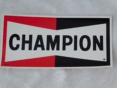 "VTG 1980's CHAMPION SPARK PLUGS ADVERTISING STICKER DECAL 5 3/4"""