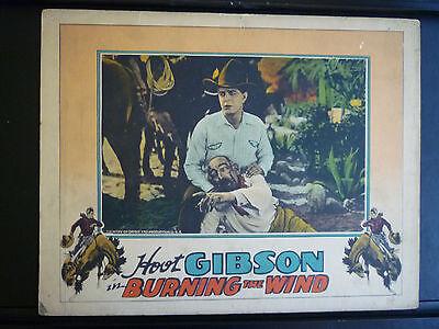RARE 1928 HOOT GIBSON VINTAGE LOBBY CARD - BURNING THE WIND - SILENT WESTERN