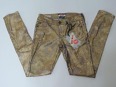 (Hot Kiss Juniors Purple Gold Metallic Print Skinny Lily Jeans Size 1 , 3 , or 7)