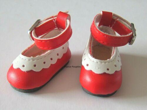 chaussures rouge blanc poupée Little Darling 33cm de Dianna Effner-Doll shoes LD