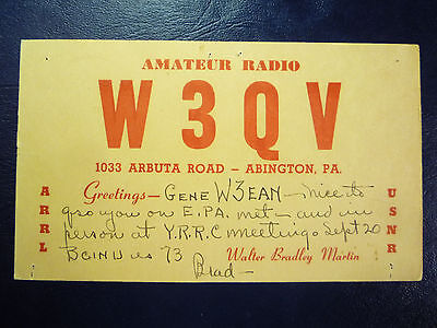 Vintage 1940s QSL Radio Card Postcard W3QV - from ABINGTON, PA PENNSYLVANIA