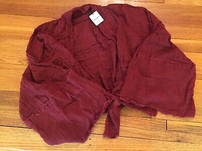 Free People MAROON Gauze TIE FRONT LOOSE 3/4 SLEEVE GRT SUMMER TOP M-L ONLY