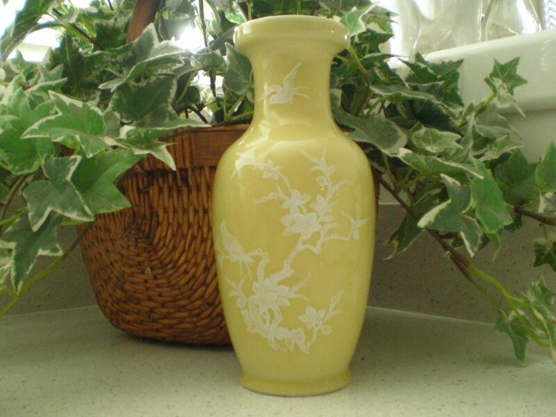"Vintage Chinese Jingdezhen Zhi Yellow Paste Porcelain Vase 8"""