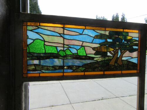 ~ ANTIQUE STAINED GLASS SCENIC PICTURE WINDOW ~ 44 X 62 ~ ARCHITECTURAL SALVAGE