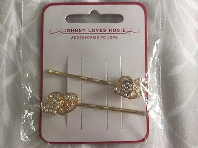 NEW & SEALED Johnny Loves Rosie Heart Hair Grips With Diamanté And Pearl Detail
