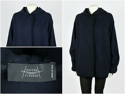 Womens Maison Flaneur Fleece Overcoat Oversize Jacket Blue Navy