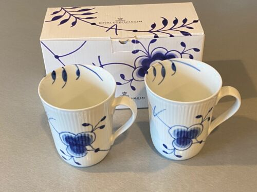 Set Of 2 Royal Copenhagen 497 Blue Fluted MEGA Handled Mugs New